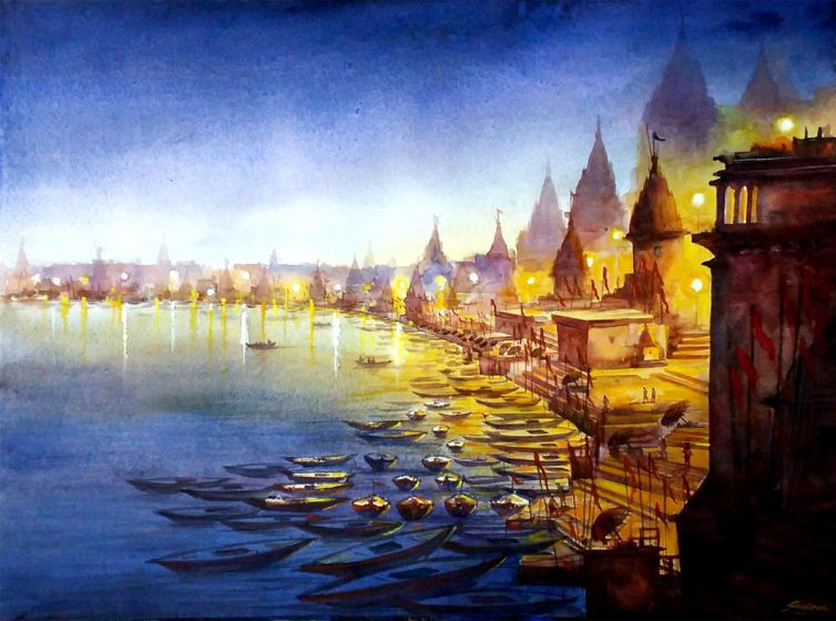 Varansi_Ghat_at_Night2_-_57cm_x_76cm